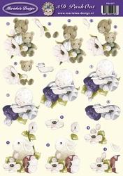 Marieke Design 3D PushOut PO1065 Beertje/kindje/bloemen