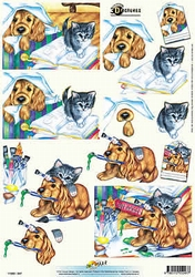 3D Knipvel Universal Pictures 247 Dieren Hond/poes
