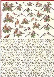 Mireille A4 Knipvel Duo X266 vogels met kerstgroen