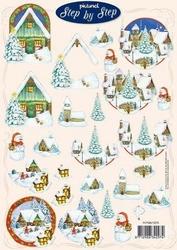 A4 Kerstknipvel Picturel 1075 Sneeuw dorpje