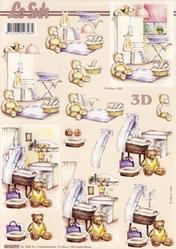 A4 Knipvel Le Suh 8215217 Geboorte wieg met beer
