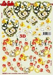 A4 Knipvel Le Suh 8215533 Pasen hartjes met eitjes & bloemen
