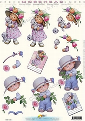 Morehead A4 Knipvel 002 Meisje met poes/jongen met roos