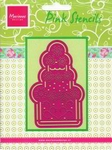 MD Pink borduurstencil PK 9001 taart