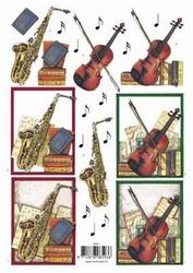 3D Knipvel F&F Cards 8593 Muziek Saxofoon/contrabas