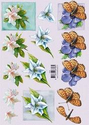 3D Knipvel F&F Cards 8708 Bloemen/vlinder