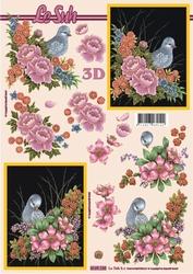 A4 Knipvel Le Suh 4169120 Duif met bloemen
