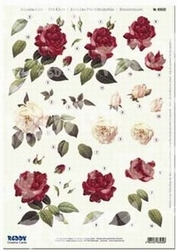 Reddy 3D Stansvel 83532 + achtergrondvel Rozen in rood/rose