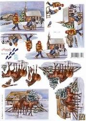 A4 Kerstknipvel Le Suh 8215129 Paarden/slee in de sneeuw