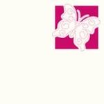 Foliart 4-kante Laser kaart K8326 vlinder/ borduur 02 wit