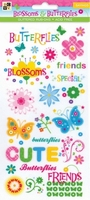 DCWV Glitter rub ons Blossoms & Butterflys sayings