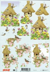 3D Knipvel Pick UP Pu059 Vogelhuisjes met bloemen