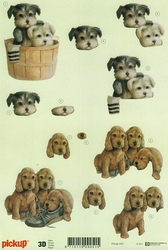 3D Knipvel Pick UP Pu023 Puppies in mandje