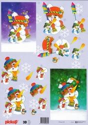 A4 Kerstknipvel Pickup 046 Sneeuwpop met vuurpijlen