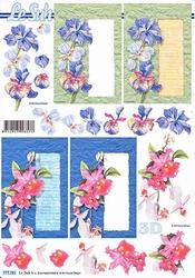 A4 Knipvel Le Suh 777291 Kaart met bloemen iris/orchidee