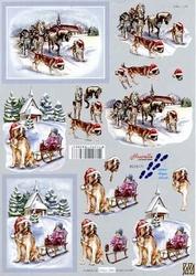 A4 Kerstknipvel Le Suh 8215171 Paard/hond en slee