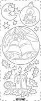 Kerst Stickervel PickUp Transp/borduur 447 Klok/kandelaar