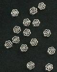 Metaalkraal Antiek Silver rozenknop 7x5mm x 10