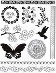Artemio Clear Stamp 10001028 Bloemen/vogel/vlinder
