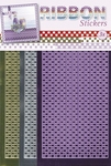 JeJe Ribbon stickers 3.9866 Gingham square goud/zilver/viole