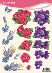 3D Knipvel VBK 2009 Bloemen viool/roos/veldboeket