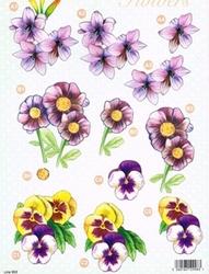 A4 Line Stansvel 993 Paarse bloemen