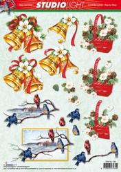 A4 Kerstknipvel Studio Light SL1054 Klok/vogeltjes/mand