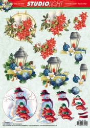 A4 Kerstknipvel Studio Light SL1053 Sneeuwpop/lantaarn/kaars