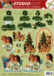 A4 Stansvel Studio Light Kerst 312 Kinderen bij boom/klok