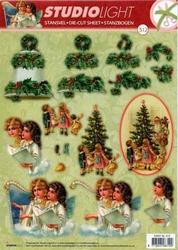 A4 Stansvel Studio Light Kerst SL 312 Kinderen bij boom/klok