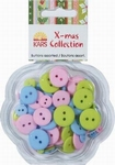 X-mas collection 063 Knopen assort. roze, blauw, groen