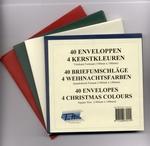 40 Enveloppen vierkant - 4 Kerst Kleuren