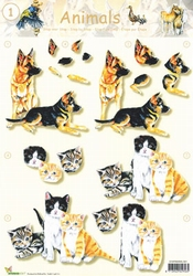 A4 Knipvel Studio Light Animals S01 Poezen/honden