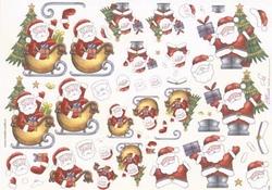 Mireille A4 kerstknipvel X085 Kerstman met slee
