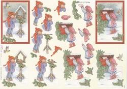 Mireille A4 kerstknipvel X161 Kindjes & vogelhuisje/postbus