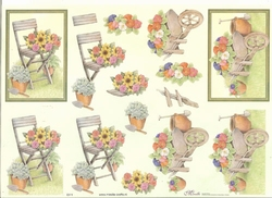 Knipvel A4 Mireille E511 Stoel/kruiwagen & bloemen/pensioen