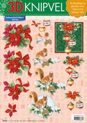 A4 Kerstknipvel Studio Light SL 22 Eekhoorn/kerstbol/roos