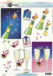 3D Kerstknipvel Universal Pictures 290 Champagne fles/glazen