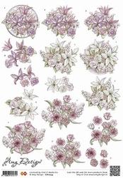 3D Knipvel Amy Design CD10233 Bloemen wit en licht roze