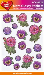 Hearty Crafts Sticker Ultra Glossy 4705 Viooltje/roos