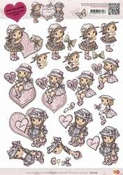 3D Knipvel Yvonne Creations CD10247 Love Valentine girl
