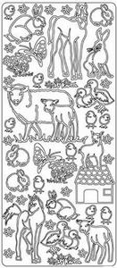 Sticker Dieren Peel-off 1850 Boerderij dieren/lammetje/paard