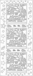 Kerst stickervel 1731 Landschap Vierkant - Slee