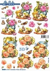 Le Suh 3D Stansvel 680009 Kan met rozen & vlinders
