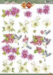 3D Knipvel Artiste Laura Broos CD10252 Vogeltje op bloem