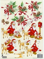 A4 Knipvel Wekon 4994-120 Kerstman met hertje