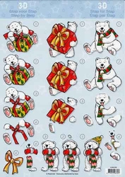 A4 Kerstknipvel Avec 4.008.058 Beer met pakje/ijs/sjaal