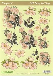 A4 Knipvel Megumi 27 Vlinder op roze bloemen