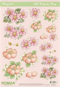 A4 Knipvel Megumi 28 Roze bloemen
