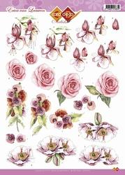 3D Knipvel Artiste Laura Broos CD10274 Roos/viooltjes ea